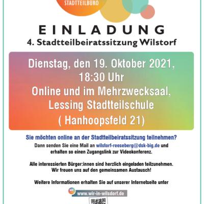 Einladung zur 4. Stadtteilbeiratssitzung in Wilstorf (Präsenz- und Onlineveranstaltung)